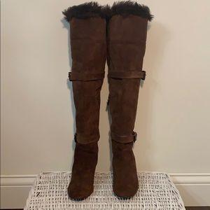 MICHAEL Michael Kors over the knee suede fur boots